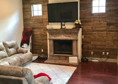 shiplap on wall with fireplace