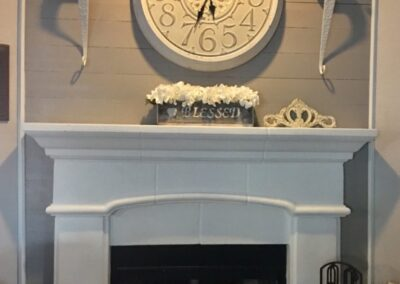 shiplap wall with fireplace